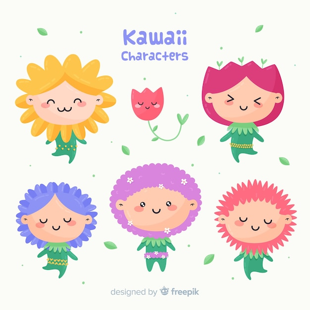 Hand drawn kawaii floral people pack Free Vector