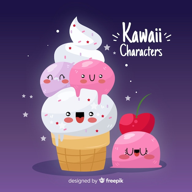 Hand drawn kawaii food background Free Vector