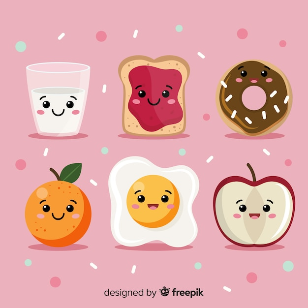 Hand drawn kawaii food collection Free Vector