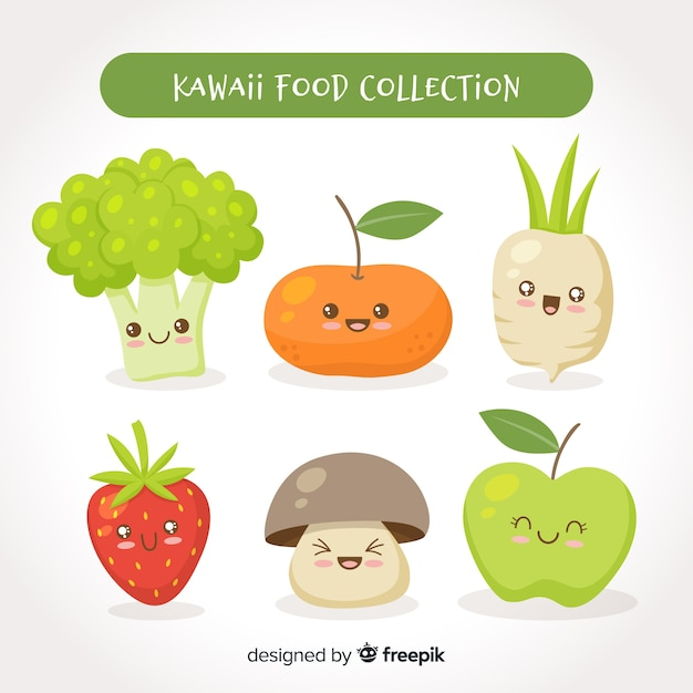 Hand drawn kawaii fresh food pack Free Vector