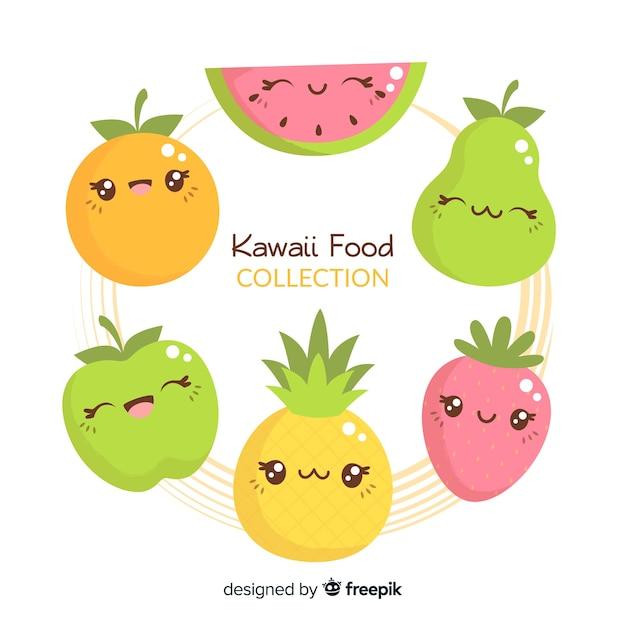 Hand drawn kawaii fruit collection Free Vector