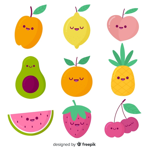 Hand drawn kawaii fruit pack Free Vector