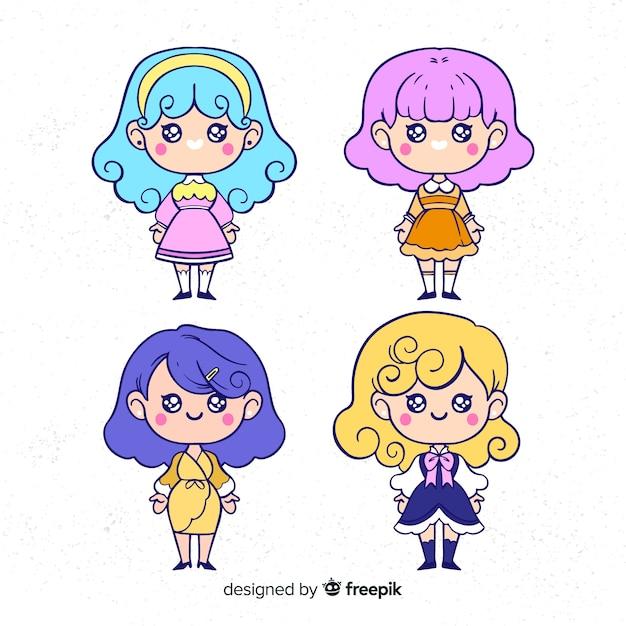 Hand drawn kawaii girls collection Free Vector