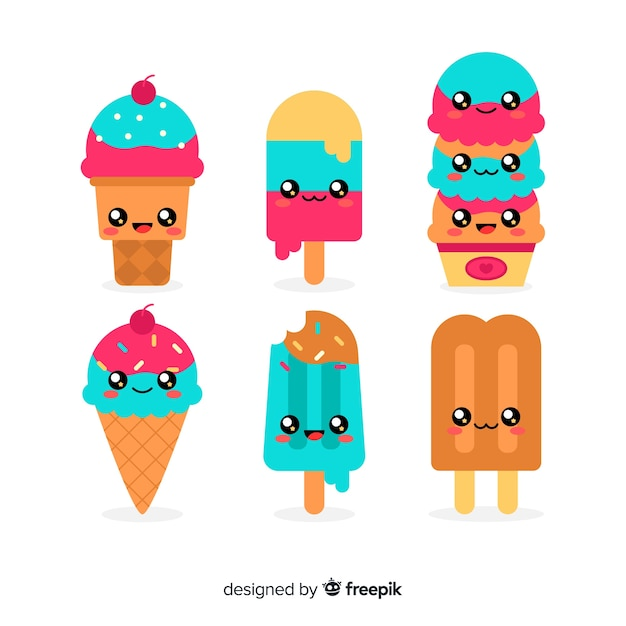 Hand drawn kawaii ice cream characters set Free Vector