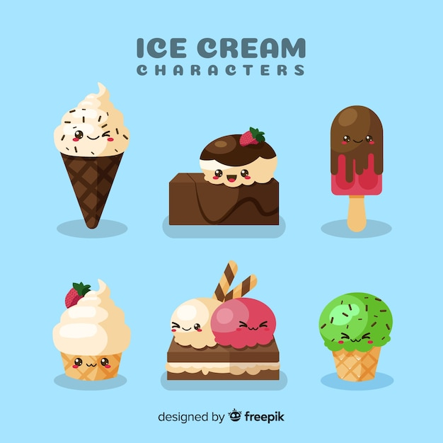 Hand drawn kawaii ice cream characters set Free Vector