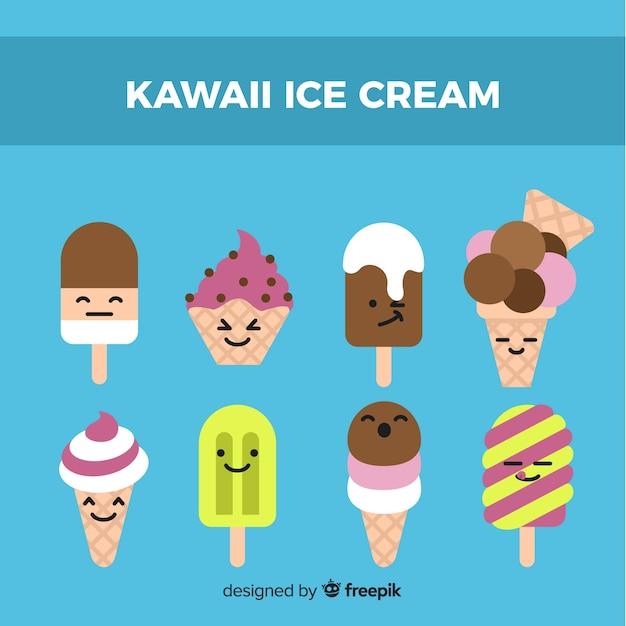 Hand drawn kawaii ice cream collection Free Vector