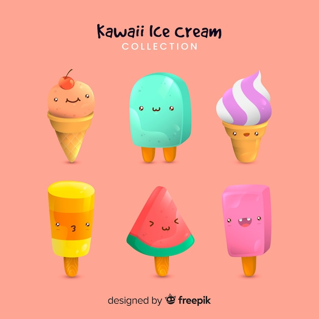 Hand drawn kawaii ice cream collection Free Vector