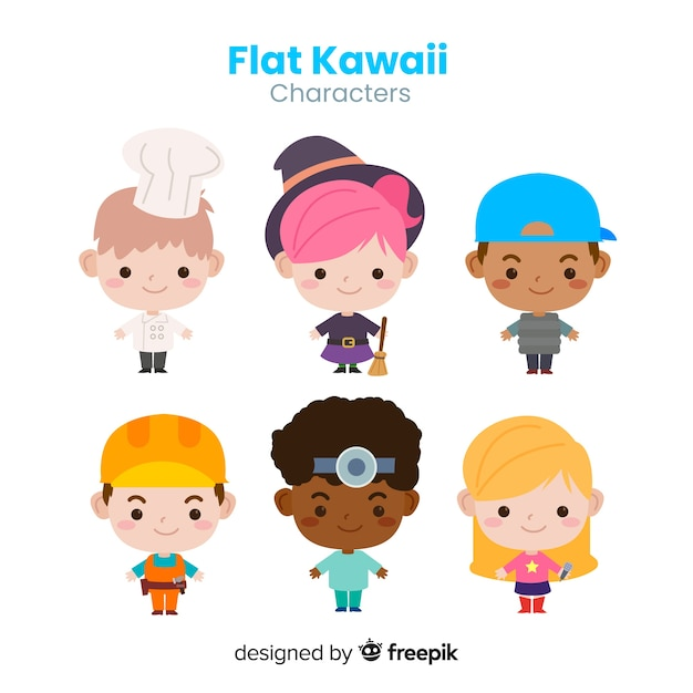Hand drawn kawaii professional characters collection Free Vector