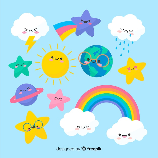 Hand drawn kawaii sky characters collection Free Vector