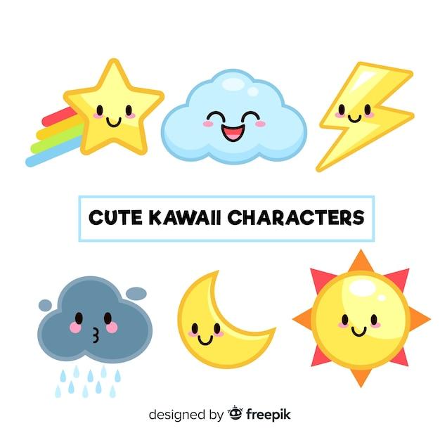Hand drawn kawaii sky characters collection Free Vector
