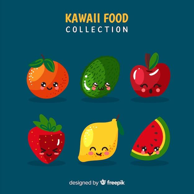 Hand drawn kawaii smiling fruit collection Free Vector