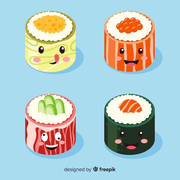 Hand drawn kawaii smiling sushi collection Free Vector