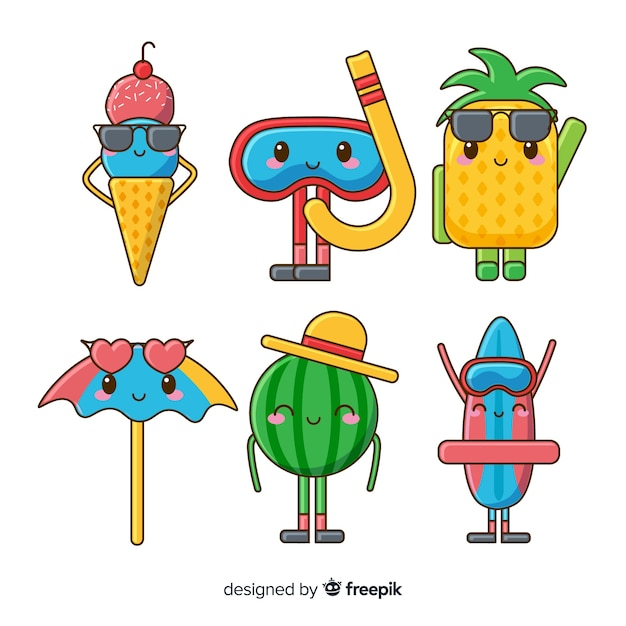 Hand drawn kawaii summer characters collection Free Vector