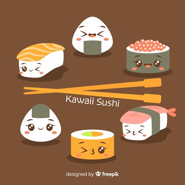 Hand drawn kawaii sushi collection Free Vector