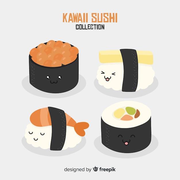 Hand Drawn Kawaii Sushi Collection Vector Free Download