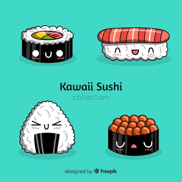 Hand drawn kawaii sushi pack Free Vector