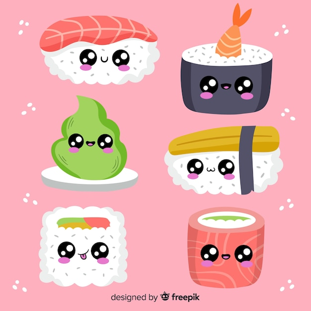 Hand drawn kawaii sushi pack Free Vector