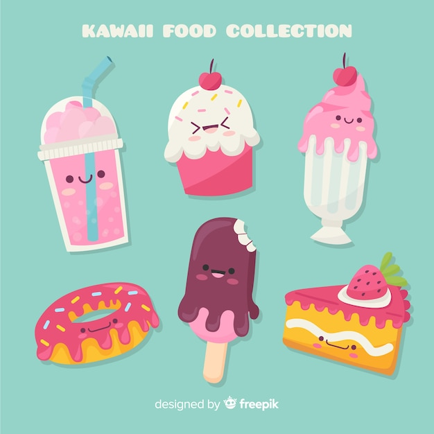 Hand drawn kawaii sweet food pack Free Vector