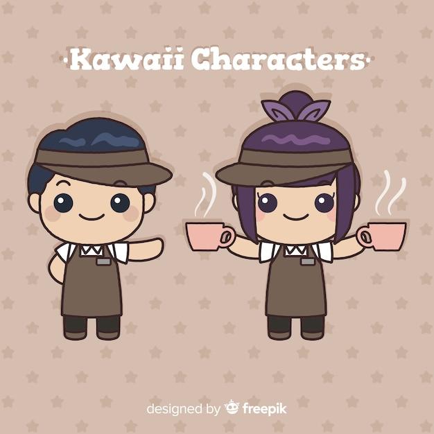 Hand drawn kawaii waiters collection Free Vector
