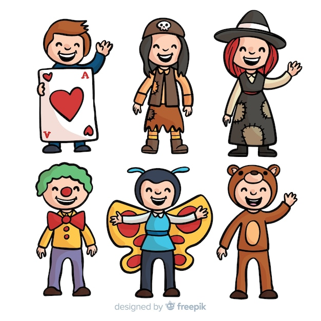 Hand drawn kids carnival costume collection Free Vector
