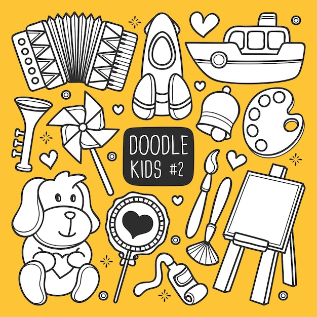Hand drawn kids doodle Free Vector