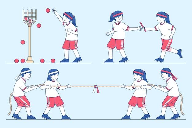 Нарисованные от руки дети, играющие в выживший спортивный японский фестиваль Бесплатные векторы