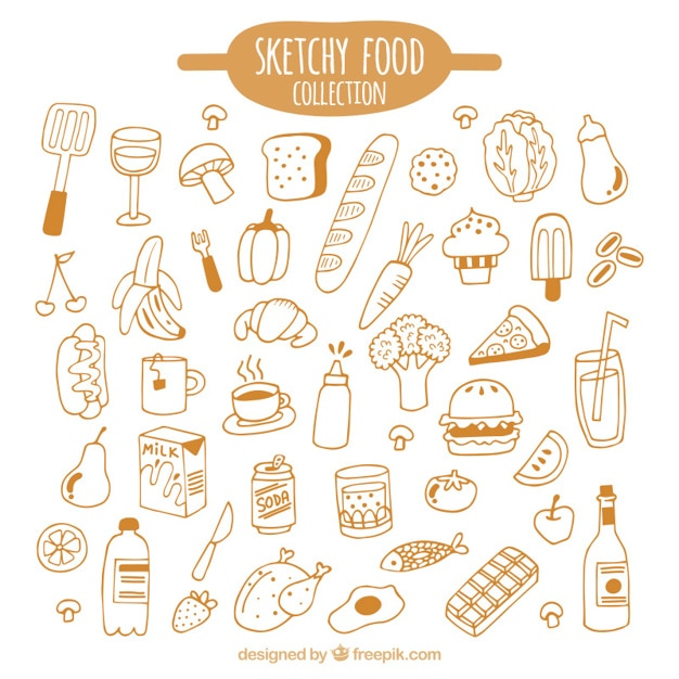 Hand drawn kind of foods pack Free Vector