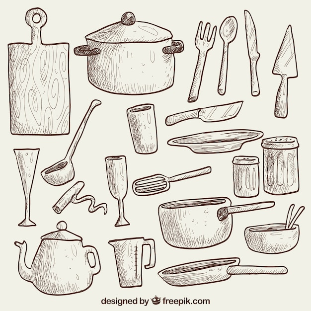 Kitchen Supplies Drawing Hand Drawn Kitchen Stuff