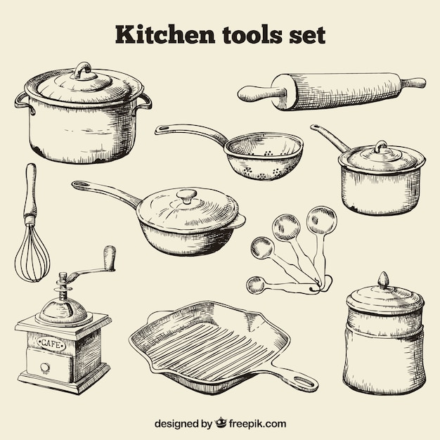 Kitchen Tools Drawing Utensils Vectors Photos And Psd Files Free Download