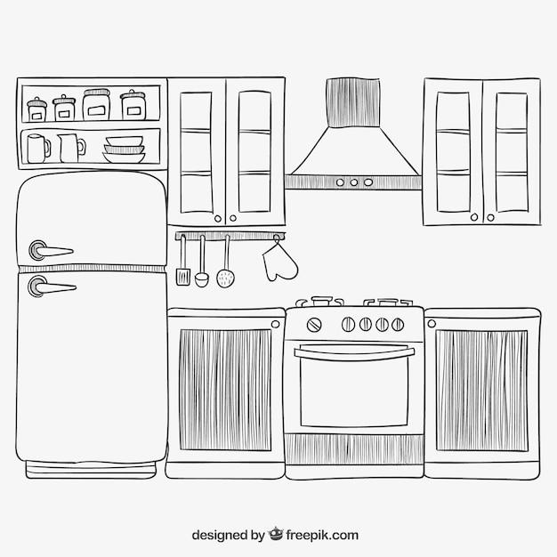 hand drawn kitchen vector