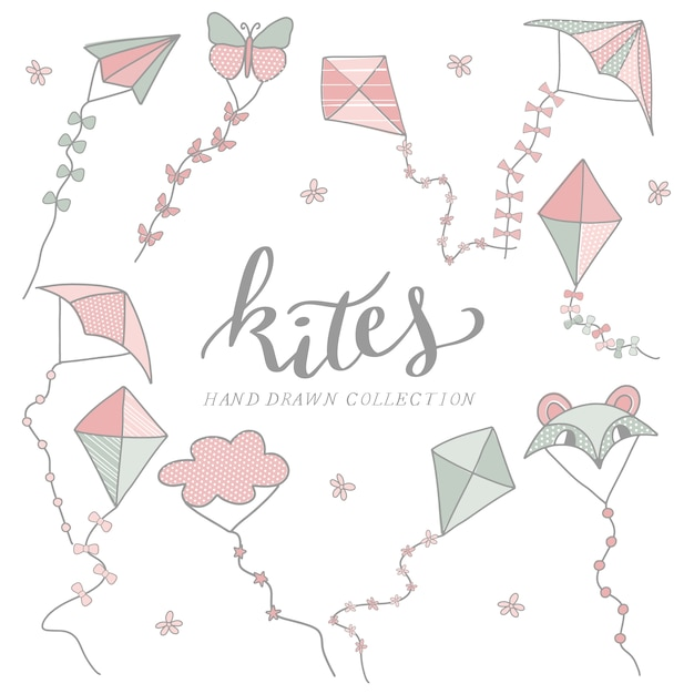 Hand drawn kites collection Free Vector