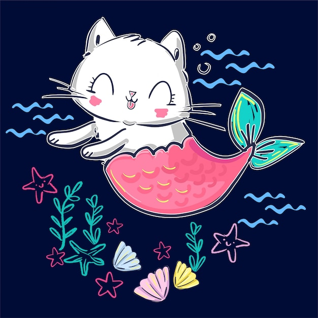 Hand drawn kitten mermaid and shell. fantasy cute cat. Premium Vector