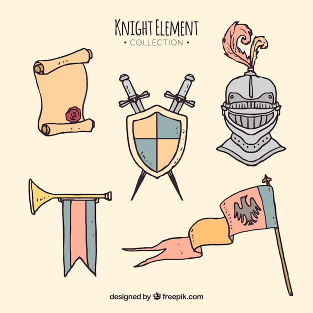 Hand drawn knight element collection