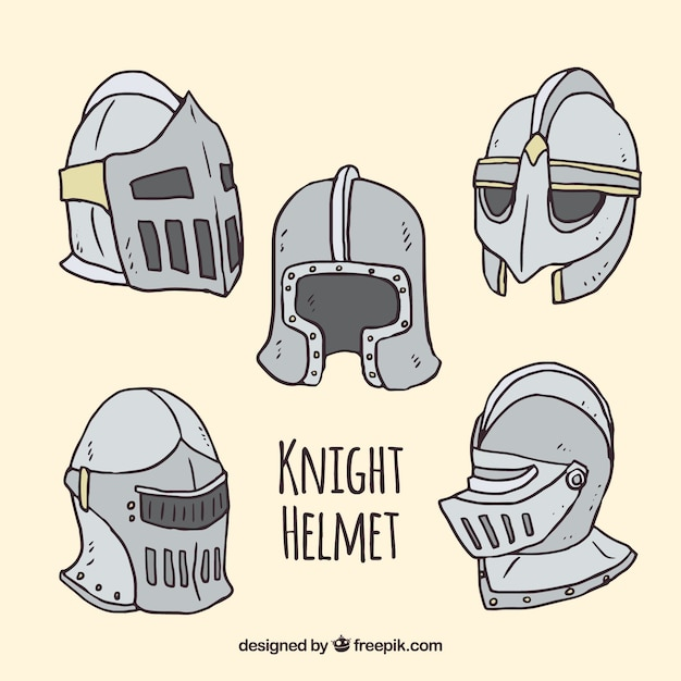 Hand drawn knight helmet collection