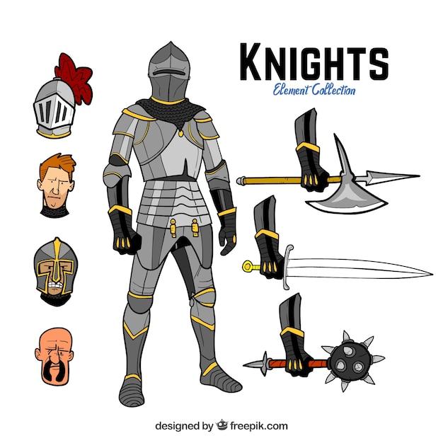 Cavaliere disegnato a mano con elementi Vettore gratuito
