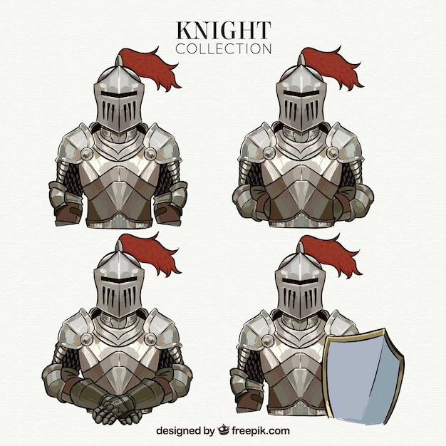 Hand drawn knights collection in different poses Free Vector