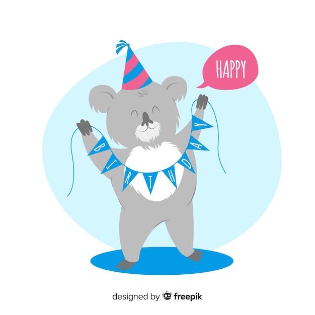Hand drawn koala birthday background Free Vector