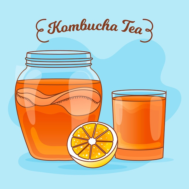 Tè kombucha disegnato a mano con limone Vettore gratuito