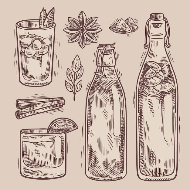 Tè kombucha disegnato a mano Vettore gratuito