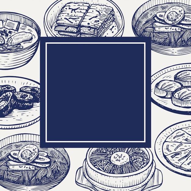 Hand drawn korean food, illustration Premium Vector