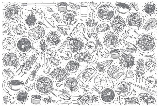 Hand drawn korean food set Premium Vector