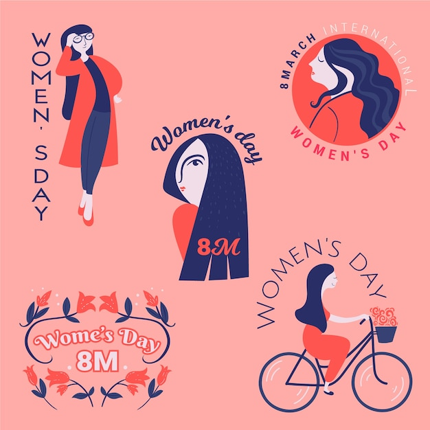 Hand-drawn label collection with womens day Free Vector
