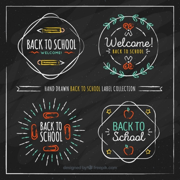 Hand drawn labels collection for back to school Free Vector