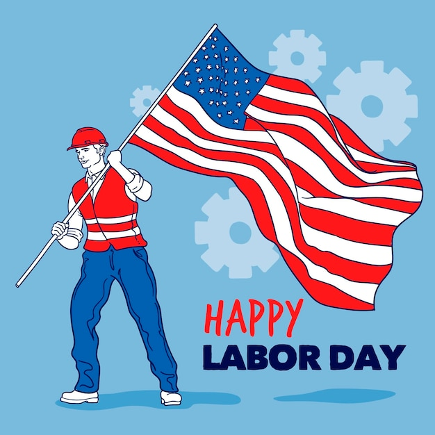 Hand drawn labor day background with man and flag Free Vector