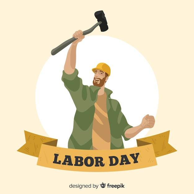 Hand drawn labor day background Free Vector