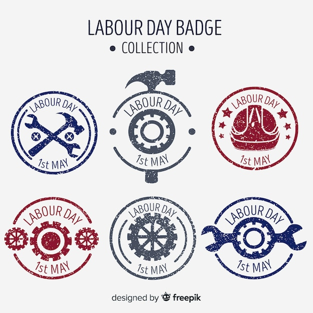 Hand drawn labor day badge collection Free Vector