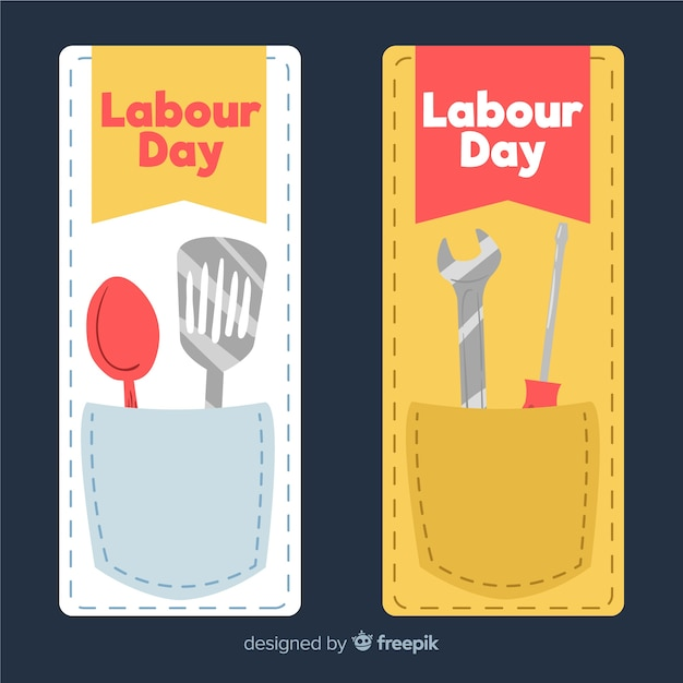 Hand drawn labor day banners Free Vector