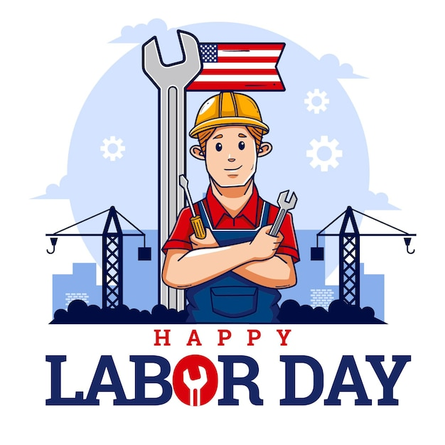 手描きのアメリカの労働者の日イベント 無料ベクター