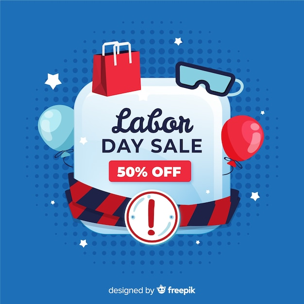 Hand drawn labor day sale background Free Vector