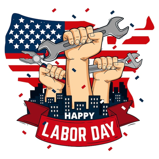 Hand drawn labor day with hands and tools   Free Vector